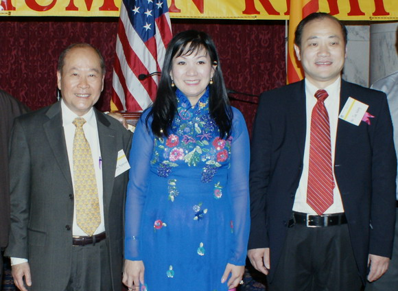 Chairman Wang, Jun and Chairman of the Vietnam Human Rights Dr. Quan Nguyen and Dr. Binhyue Nguyen